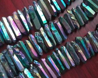 Rainbow Rough Titanium Crystal Points, Quartz Sticks, Spikes, Rainbow Metalic Quartz Beads, Crystal Daggers, Quartz Spike Beads A4B4