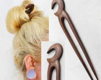 Sono Wood Hair Stick Double Pick w/ Moon Carving Design Wooden Hair Fork Organic Hair Accessories