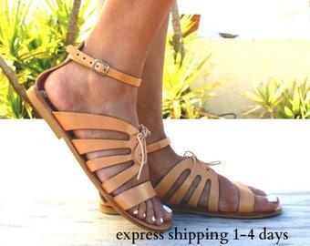 CRETE sandals/ Greek leather sandals/ Gladiator sandals/ ancient grecian sandals/ handmade sandals/ roman sandals/ natural beige sandals