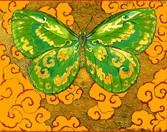 Fine Art Greeting Card, Papillon D'Esprit, Green, Hand Made, Archival Reproduction of an original etching.