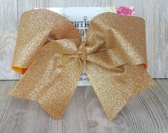 Gold Glitter Cheer Bow, Gold Cheer Bow, Gold Sparkle Cheer bow, Gold Bow, Glitter Cheer bow, Cheer Bow, Glitter bow, sparkle bow