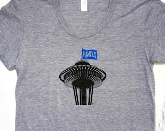 Womens Seattle Football shirt. Space needle t-shirt. Hawks tshirt.