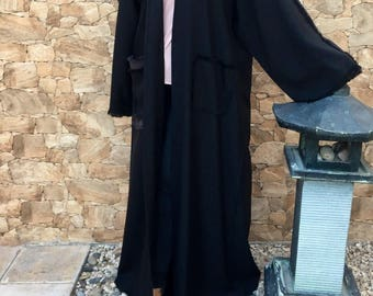 Boho fringed Abaya Maxi cardigan