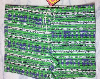 Deadstock 1980's abstract striped tribal print Surf Board short Shorts Castaways Swim Trunks NOS size XL all cotton lime green purple black