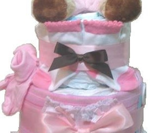 Diaper Cake. Pink Diaper Cake, Baby Shower Diaper Cake. Diaper Cakes For Girls. Baby Girl. Baby Clothes. Baby Shower Gift. Baby cakes