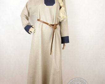 SALE Early Medieval linen underdress gown, Natural non-dyed and dark blue  SIZE L,  100% linen. Viking costume, reconstruction.