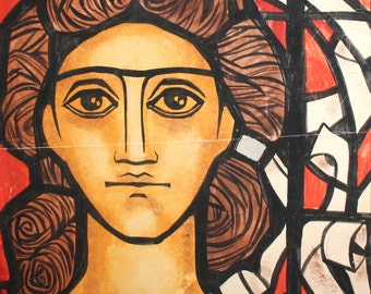 Vintage art nuevo gouache painting portrait