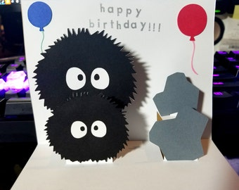Soot Sprites Card - Spirited Away Card - Soot Sprites Birthday Card
