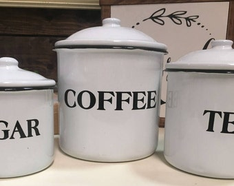 White Farmhouse,Kitchen,Canister Set,Coffe,Tea,Suga,Metal,Home Decor,Kitchen Organization,Storage,Rustic Kitchen Decor