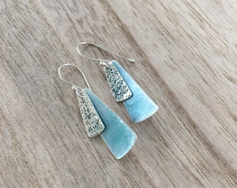 Blue Glass Rectangle Earrings