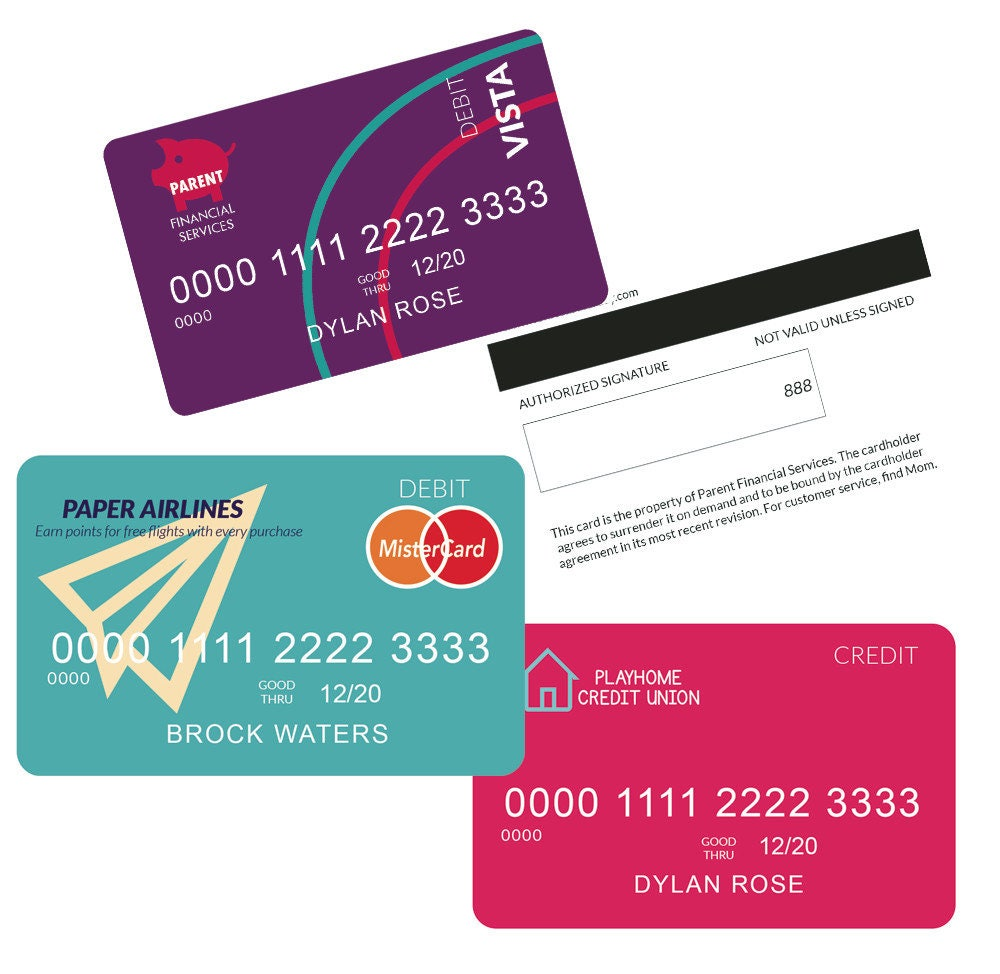 Role Play Credit Cards Debit Cards Poster: Kids Credit Card Pretend Credit Card Printable Credit Card
