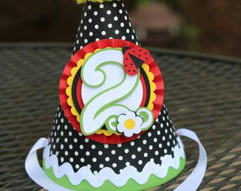 Little Ladybug Black White Yellow Red Party Hat |  Birthday | Birthday Hat | Ladybug Party | Girl Birthday | First Birthday | Garden Party