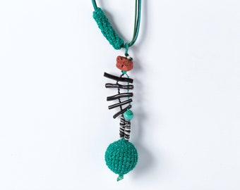Turquoise Ball  Pendant Necklace, Crochet Ball Pendant, Tribal Sphere Pendant, Boho Ball Pendant