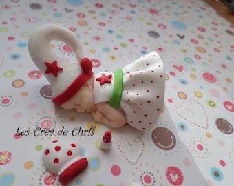 """baby girl theme """"Christmas"""" polymer clay."""