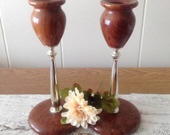 Vintage California Redwood Burl Candleholders, Polished Wood, Metal Candlestick Holders