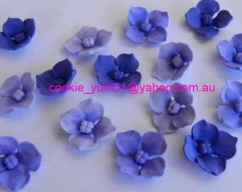 12 edible HYDRANGEA BLOSSOMS FLOWERS sugar cake cupcake toppers decorations party wedding anniversary birthday beautiful christening