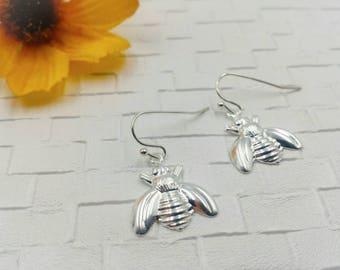 Silver Bee Earrings, Simple Silver Bumble Bee Jewelry, Honeybee Earrings,Bee Earrings, Gold Bee,Brass Bee Earrings,Queen Bee,Bug Jewelry