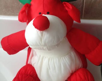 Stuffins 1993 Puffalump Reindeer Stuffed Animal Christmas Bells