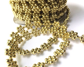 5 Yards Gold Flower Strand Bead Trim Accent for Crafting, Scrapbooking, Decoration