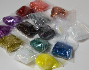 Sampler of Metallic Fiber, 15 colors Crystal Metalic, Spinning Fiber, Glitz Fiber, Fly Tying Fiber, Felting
