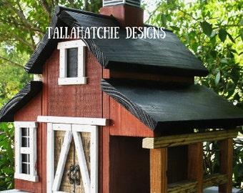 barn birdhouse, birdhouse outdoor, wooden birdhouse, farm style birdhouse, red barn, birdhouses, rustic birdhouse, primitive birdhouse