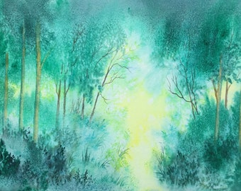 """Misty Glade.  Large original watercolour painting 14""""x10"""" by Pamela West"""