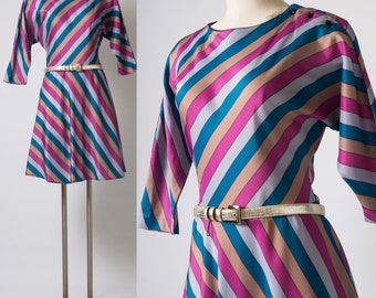 80s Dress, Vintage Pink Teal Dress, Vintage Stripe Dress,Dolman sleeve Dress,Multicolor Dress, Aline dress,Vintage Day Dress, Womens Vintage