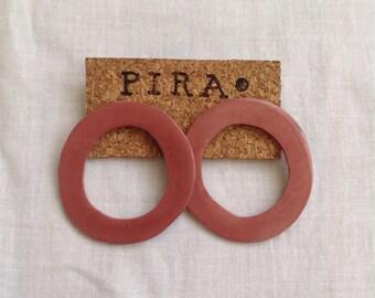Lava series - minimalist, geometric, brick color maxi statement stud earrings