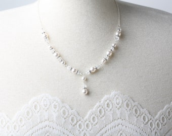 Bridal Pearl necklace earrings set, wedding jewelry, Pearl and crystal necklace, Bridal jewelry Set, wedding necklace, Swarovski Necklace