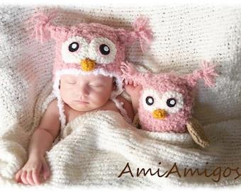 Crochet Newborn Owl Gift Set (Newborn Hat & Stuffed Animal) Pink or Brown
