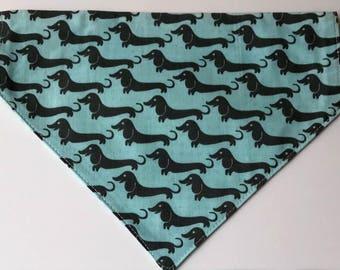 Pet Bandana - Dog Bandana - Reversible Bandana - No Tie Bandana - Dachshund Bandana - Dachshund Dogs - Slips over Collar - Fashionable Pets