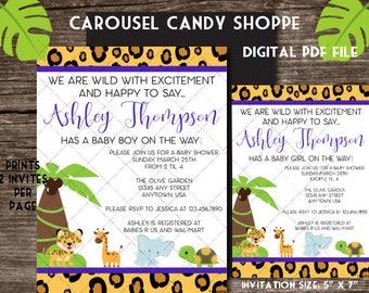 Baby Safari Jungle Theme Baby Shower Invitations DIY Printable PDF File