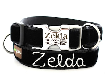 Embroidered Velvet - Metal Buckle Laser Engraved Personalized Dog Collar - 14 Colors - With Hand Embroidered Name