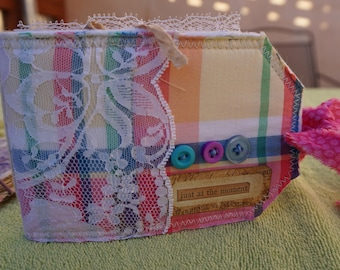 Quilted tag mini journal.