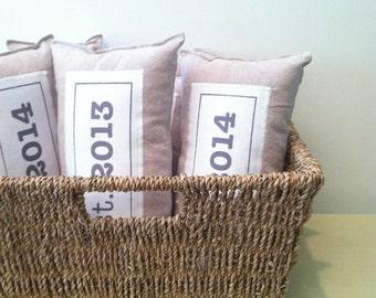 EST. linen pillow decoration. new home. wedding date. baby. decorative appliqued pillow. handmade by looploft