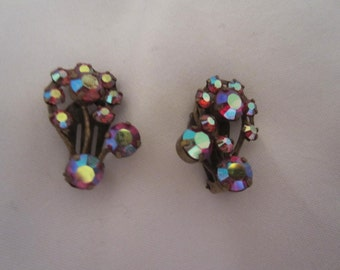 1970s Vintage Austria Costume Jewelry Pink Swirl Sparkling Clip On Earrings