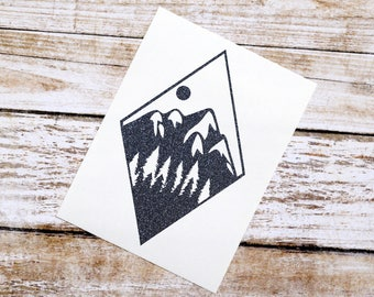Mountain Scene Glitter Vinyl Decal, Mountain Decal, Hiking, Adventure, Minimalist Decal