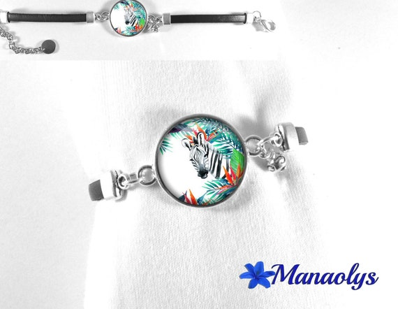 Black genuine leather bracelet, Zebra and flowers, glass cabochon