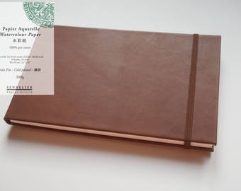 Handmade leather watercolor sketchbook/journal with sennelier cotton paper