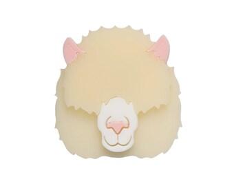 Alpaca brooch - laser cut acrylic