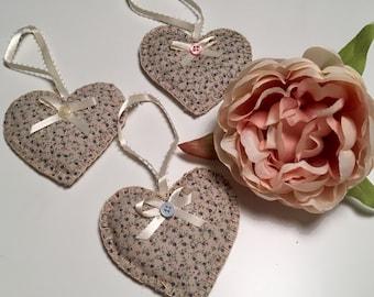 Heart hangers, fabric decoration, heart decoration, love decoration, vintage decoration, christmas tree decoration,