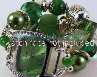 Emerald Isle.. Emerald Green and Silver Plated Interchangeable Beaded Watch Band