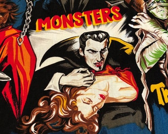 Pleasures and Pastimes - Robert Kaufman - Movie Monsters - Fabric By The Yard - BHY