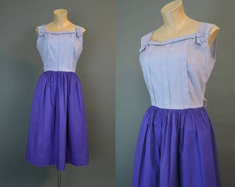 Vintage 1950s Purple Dress, fits 36 inch bust, Lavender & Purple Cotton Day Dress with Full Skirt