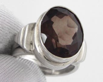Superb Vintage Solid Sterling Silver Faceted Smoked Quartz Ring - Size 8