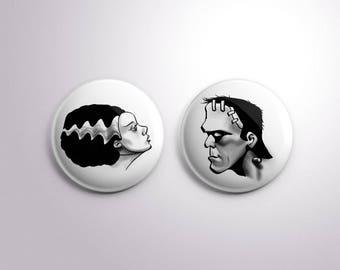 Frankenstein and Bride Pin Pinback Buttons / Badges - 25 mm / 1 inch - Frankensteins Monster Horror Universal Monsters Bride of Frankenstein