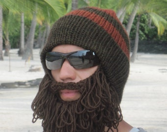 Crochet Beard Hat shaggy beard beanie The Original Beard Beanie™ in dark brown and burnt orange