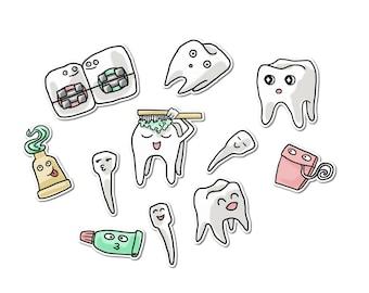 Mignon dent autocollants, papier autocollants, journalisation, autocollant flocons, papeterie, Scrapbooking, drôle de dents, dentiste, bretelles, orthodontiste, soie
