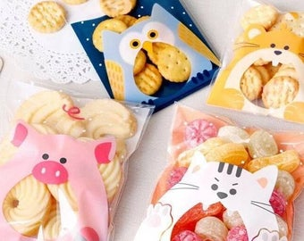 JParadise -50/100 Pcs Lovely Animal Self Adhesive Plastic Cookie Bag/ Candy Bag /Pastry Bag/ Gift Bag