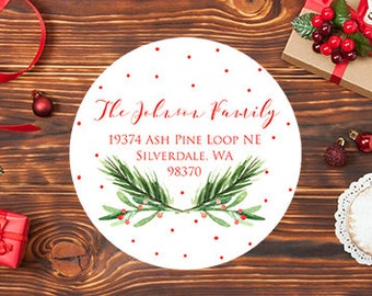 Holiday Christmas Return Address Label Stickers, Watercolor Holiday Stickers
